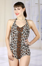 BROAD MINDED CLOTHING VTG 1960's STYLE PINUP LEOPARD PRINT GINGER SWIMSUIT - XXL