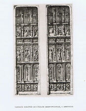 Leaf carved Doors of Church Saint Vulfran, Abbeville  - 1879 Copper Engraving