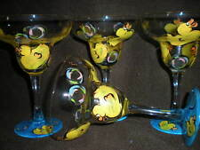 HANDPAINTED RUBBER DUCKY AND BUBBLES  SET/4 MARGARITA GLASSES