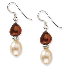 Sterling Silver Peach & Dark Brown Freshwater Cultured Pearl Earrings - Boxed