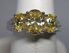 STERLING SILVER WHITE & CANARY YELLOW CZ LADIES RING--Size 8