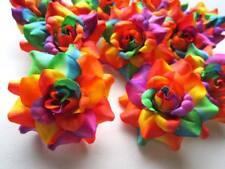 "12 Rainbow Roses Artificial Silk Flower Heads Lot 1.75"" for Bridal Wedding decor"