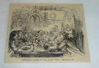 1880 magazine engraving ~ CHRISTMAS DINNER IN OLDEN TIME