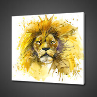 LION WATERCOLOUR PAINTING STYLE WILD CAT CANVAS PRINT WALL ART PICTURE PHOTO