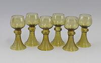 8345009 Satz 6 Glas Weinrömer Weingläser olivgrün Historismus-Stil