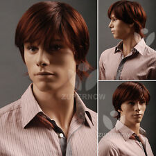 Short Wig Straight Men Wig Brown Color Male Wigs Synthetic 100% Japanese Hair
