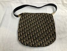 Rare Dior Vintage Black Trotter Print Shoulder Bag with Leather Shoulder Strap
