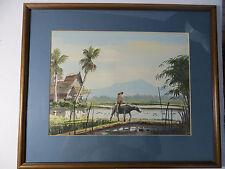 "Beauty! Listed A.B. Ibrahim Watercolor Modernist Paintings Malaysian 20.5""X17"""