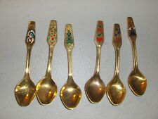 6 Collectible Gold Color Enamel Danish Meka Denmark Spoons 1971 76 80 82 84 86