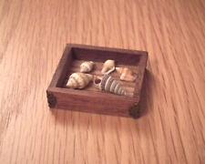 1/12 dolls house Miniature Shells in handmade Wood Box desk Office Study LGW