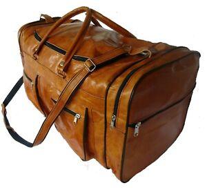 Echte Leder Tasche Vintage Sporttasche Duffel Gym Reisetasche Weekender 58x32