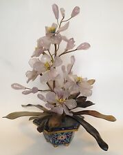 Fine Old Chinese Carved Pink Jade Stone Flower Wire Tree Sculpture Cloisonne Pot