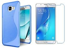BLUE S-LINE TPU CASE + CLEAR SCREEN PROTECTOR FOR SAMSUNG GALAXY J7 SKY PRO