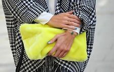 BNWT ZARA YELLOW FURRY CLUTCH BAG