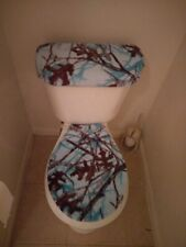 Blue Mossy Oak Fleece Fabric Toilet Seat Cover Set Bathroom Accessories