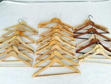 Very Nice Lot of 24 Wooden Hangers Solid Wood Swivel Tops Suit Clothes Euc