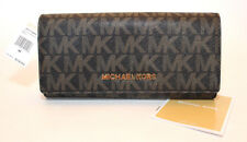 Michael Kors Jet Set Travel CarryAll MK Signature PVC Wallet Black/DKBrown NWT