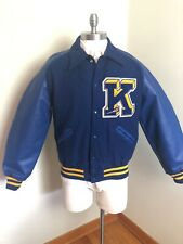 5d96ef186e02b5 Blue Yellow Leather Letterman Jacket Lacrosse University Kent Stadium Ohio M