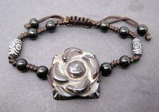 Tibetan Eye Agate Gem Roso Flower Bead Buddhist Prayer Beads Mala Bracelet