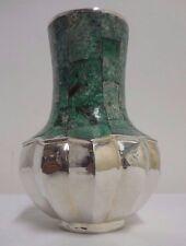 Beautiful Emilia Castillo Malachite & Silver Plate Vase