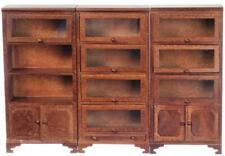 Dolls House Walnut Lawyers Bookcase Set Miniature Office Study Furniture
