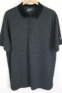 Nike Golf Tour Performance Mens Sz XL Black White Striped Polo S/S Shirt