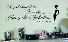 Large Coco Chanel Quote Classy and Fabulous Vinyl Wall Sticker Decal Bedroom