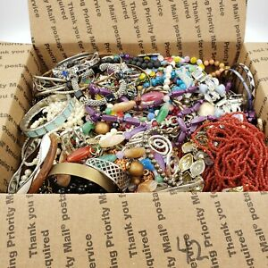 15 lbs Pounds Jewelry Lot Med Flat Rate Box Vtg to Modern Wear Craft Harvest 42