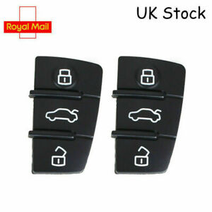 2 x Fits Audi A3 A4 A6 TT Q7 Remote Key FOB 3 Button Rubber Pads Replacement A7