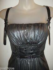 Sky Clothing Brand S Dress Metallic Gunmetal Onyx Black Leather Belt Party Club
