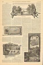 Texas, Guadalupe River, Brazos, Gulf Of Mexico, 2pgs, Vintage 1884 Antique Print