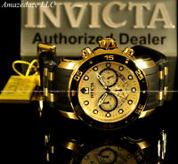 NEW Invicta Men18k Gold Plated Scuba Prodiver VD53 Chronograph Golden Dial Watch