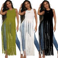 Women Solid Color Crew Neck Sleeveless Tassels Casual Summer Clubwear Dress Tops