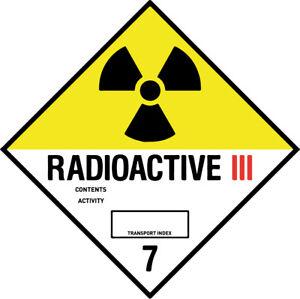45-200mm Hazard Warning Stickers Radioactive 3 Transport 7 COSHH HACCP Hazchem