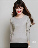 Cheap Women's Crewneck Cashmere Sweaters Fashion Pullovers Slim Knitted Sweater