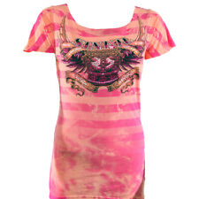 Sinful Kingdom Come Short Sleeve Scoop Neck T-Shirt - Coral