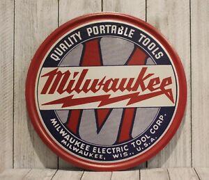 "New Milwaukee Tools Round Tin 12"" Sign Poster Vintage Style Retro Look Hardware"