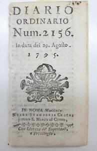 Cesena Diario Ordinario N.2156 Del 29 Agosto 1795 In Roma Nella Stamperia Cracas