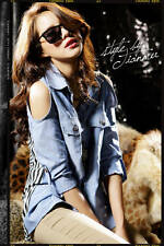 Ladies Cut Open off Shoulder Blue Denim Stripe Chiffon Shirt Blouse 6 8 10