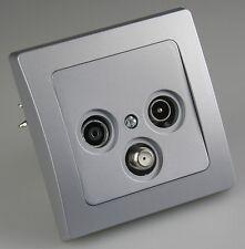 DELPHI silber: Steckdose Lichtschalter Dimmer Rahmen RJ45 Antennendose USB ...