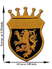 Lion Crown Crest  Royal Heraldic Club Team V02 Applique Iron on Patch Sew
