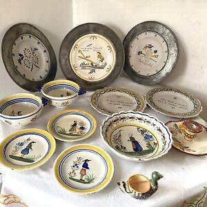 JOB LOT Antique & Vintage Quimper Peint A La Main Lisieux French Faience Pottery