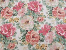 Sanderson Curtain Fabric 'MIDSUMMER ROSE' 3.6 METRES (360cm) Red/Green Linen Mix