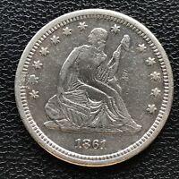1861 S Seated Liberty Quarter Dollar High Grade XF AU Details 25c RARE  #7700