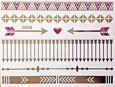 Flash jetable Temporaire Tatouages adhésifs OR ROSE 8 pièces bracelet collier
