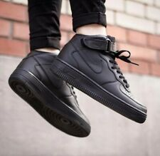 New Nike AF1 Air Force 1 '07 Mid Triple Black Leather Trainers Women Men UK 6