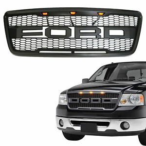 For 2004-2008 Ford F150 Raptor Style Conversion Front Hood Grille W/ LED Grill