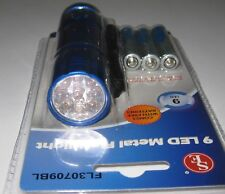 9 LED Compact Aluminum LED Flashlight w/ Lanyard - Push On / Off - 3AAA Included