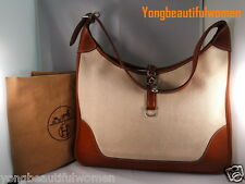 AUTHENTIC HERMES EXCELLENT Leather Trim 31 Canvas Hobo Shoulder Handbag