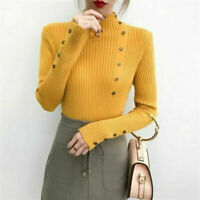 Women Casual Long Sleeve Turtle Neck Knit Sweater Jumper Tops Button Pullover